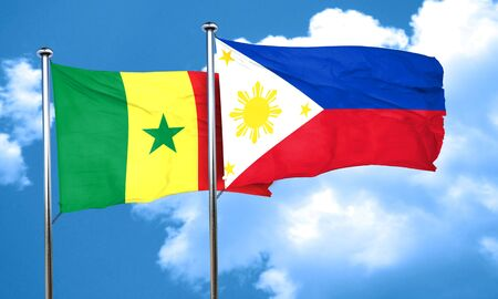 philippino: Senegal flag with Philippines flag, 3D rendering
