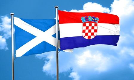 croatia: scotland flag with Croatia flag, 3D rendering Stock Photo