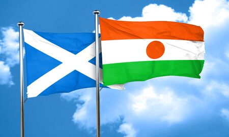 niger: scotland flag with Niger flag, 3D rendering