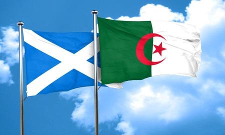 algeria: scotland flag with Algeria flag, 3D rendering Stock Photo
