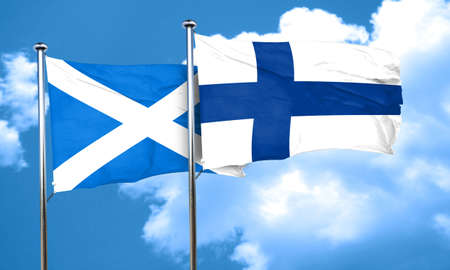 FINLAND flag: scotland flag with Finland flag, 3D rendering Stock Photo