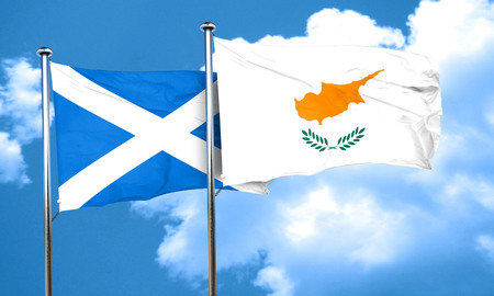 cyprus: scotland flag with Cyprus flag, 3D rendering Stock Photo