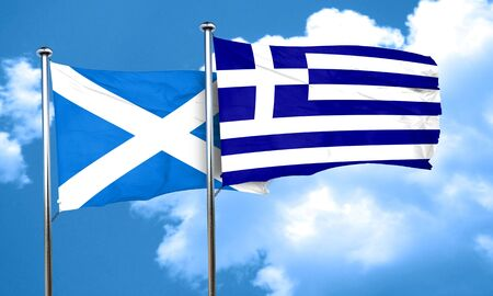 greece flag: scotland flag with Greece flag, 3D rendering Stock Photo