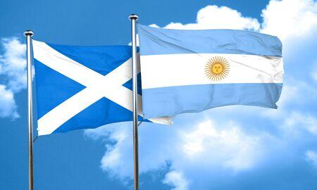 argentine: scotland flag with Argentine flag, 3D rendering