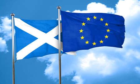 european culture: scotland flag with european union flag, 3D rendering