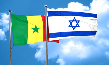 senegal: Senegal flag with Israel flag, 3D rendering