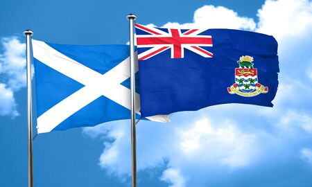 cayman: scotland flag with Cayman islands flag, 3D rendering Stock Photo