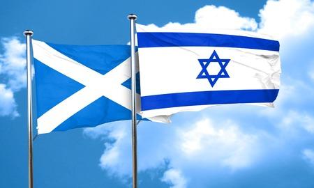 israel flag: scotland flag with Israel flag, 3D rendering