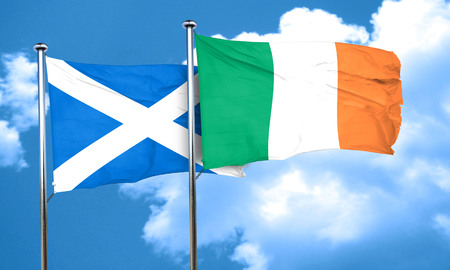ireland flag: scotland flag with Ireland flag, 3D rendering