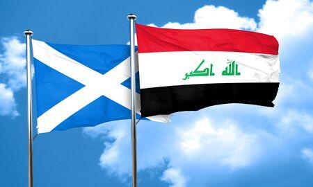 iraq flag: scotland flag with Iraq flag, 3D rendering Stock Photo