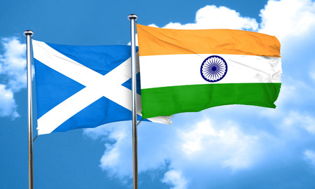 india 3d: scotland flag with India flag, 3D rendering