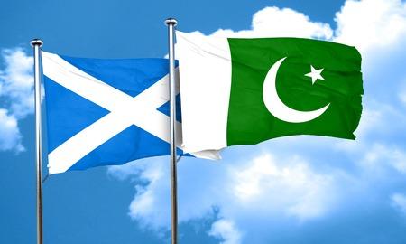 flag of pakistan: scotland flag with Pakistan flag, 3D rendering