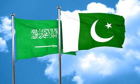 flag of pakistan: Saudi Arabia flag with Pakistan flag, 3D rendering Stock Photo