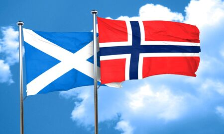 norway flag: scotland flag with Norway flag, 3D rendering