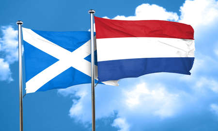 netherlands flag: scotland flag with Netherlands flag, 3D rendering Stock Photo