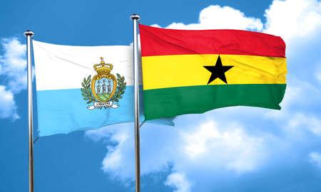 ghanese: san marino flag with Ghana flag, 3D rendering