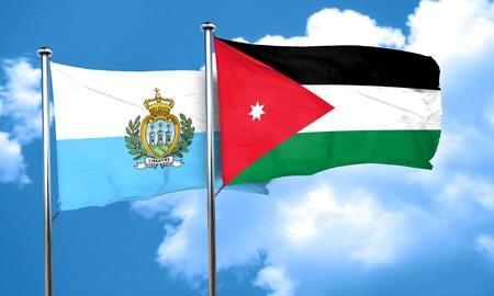 marino: san marino flag with Jordan flag, 3D rendering