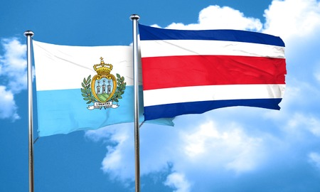 rican: san marino flag with Costa Rica flag, 3D rendering