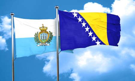 bosnia and  herzegovina: san marino flag with Bosnia and Herzegovina flag, 3D rendering