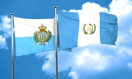 guatemalan: san marino flag with Guatemala flag, 3D rendering