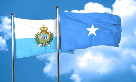 somalian culture: san marino flag with Somalia flag, 3D rendering