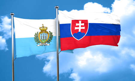 slovakia flag: san marino flag with Slovakia flag, 3D rendering Stock Photo