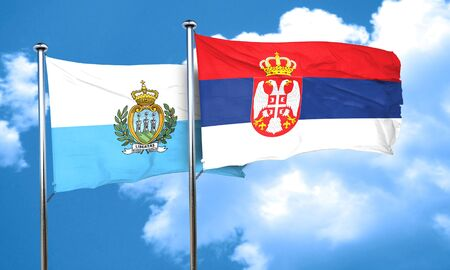 serbia flag: san marino flag with Serbia flag, 3D rendering