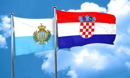 bandera de croacia: bandera de san marino con la bandera de Croacia, 3D