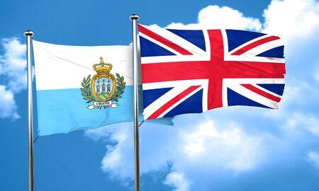 bandera de gran bretaña: san marino flag with Great Britain flag, 3D rendering Foto de archivo