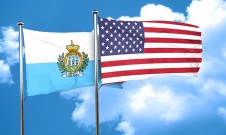 marino: san marino flag with American flag, 3D rendering
