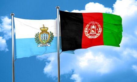 afghanistan flag: san marino flag with afghanistan flag, 3D rendering