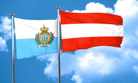 austria flag: san marino flag with Austria flag, 3D rendering Stock Photo