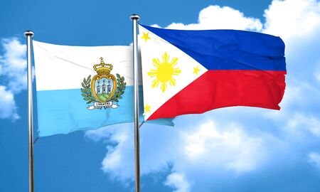 philippino: san marino flag with Philippines flag, 3D rendering