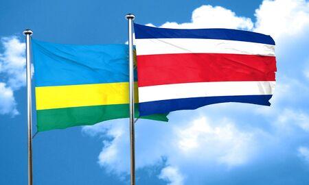 rican: Rwanda flag with Costa Rica flag, 3D rendering