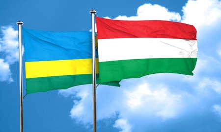 rwanda: Rwanda flag with Hungary flag, 3D rendering