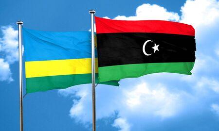 rwanda: Rwanda flag with Libya flag, 3D rendering