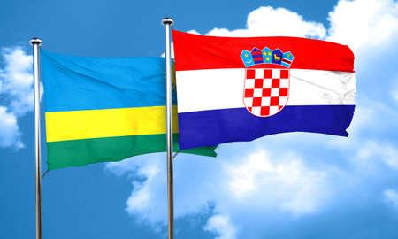 bandera croacia: bandera de Ruanda con la bandera de Croacia, 3D