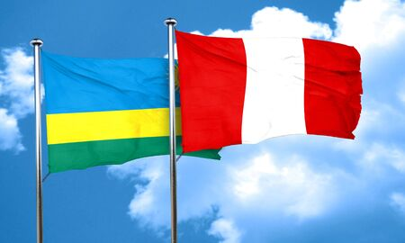 bandera de peru: bandera de Ruanda con la bandera de Perú, 3D