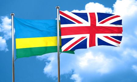 rwanda: Rwanda flag with Great Britain flag, 3D rendering Stock Photo