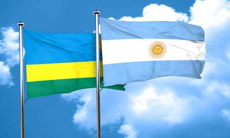 argentine: Rwanda flag with Argentine flag, 3D rendering