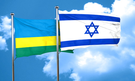 Rwanda flag with Israel flag, 3D rendering