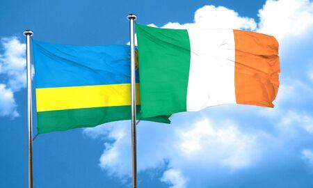 ireland flag: Rwanda flag with Ireland flag, 3D rendering
