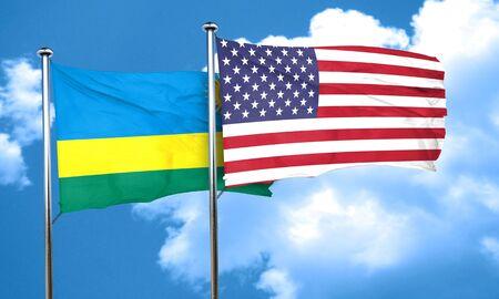 rwanda: Rwanda flag with American flag, 3D rendering