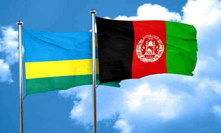 Rwanda flag with afghanistan flag, 3D rendering Stock Photo