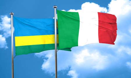 rwanda: Rwanda flag with Italy flag, 3D rendering Stock Photo