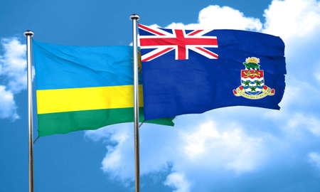 cayman: Rwanda flag with Cayman islands flag, 3D rendering Stock Photo