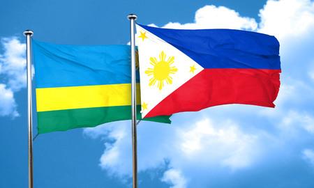 philippino: Rwanda flag with Philippines flag, 3D rendering