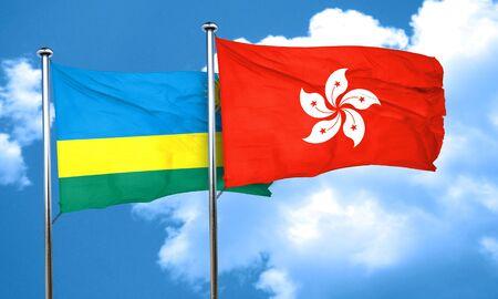 rwanda: Rwanda flag with Hong Kong flag, 3D rendering Stock Photo