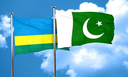 pakistan flag: Rwanda flag with Pakistan flag, 3D rendering