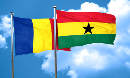 ghanese: Romania flag with Ghana flag, 3D rendering Stock Photo